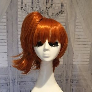 New red orange cosplay pigtail wig removable pony